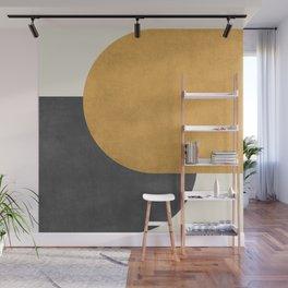 Halfmoon Colorblock - Gold Charcoal Wall Mural