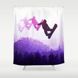 Snowboard Skyline IV Shower Curtain