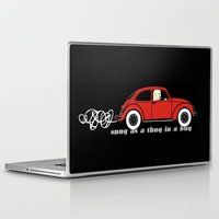 volkswagon Laptop & iPad Skins featuring Snug as a Thug in a Bug (red) by The Wallpaper Files