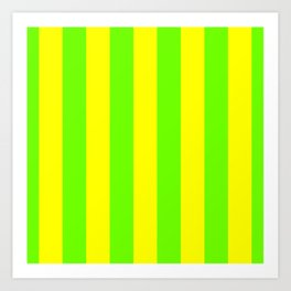 Bright Neon Green and Yellow Vertical Cabana Tent Stripes Art Print
