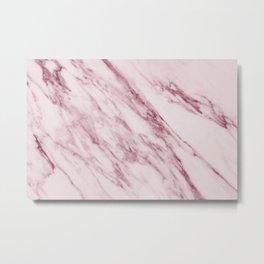 Pink Marble Pattern - Swirled Raspberry Pink Marble Metal Print