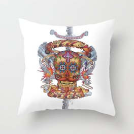 Mutant Day of the Dead Skull Throw Pillow