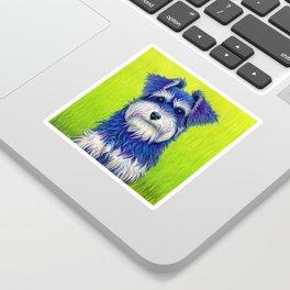 Colorful Miniature Schnauzer Dog Pet Portrait Sticker