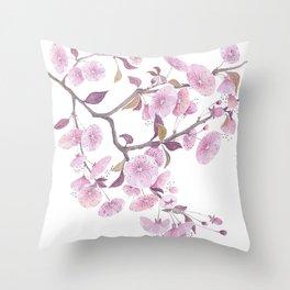 Cherry blossoms, sakura flower decor watercolor painting pink Throw Pillow