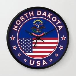 North Dakota, USA States, North Dakota t-shirt, North Dakota sticker, circle Wall Clock