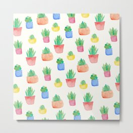 Watercolour Potted Succulents Pattern Metal Print