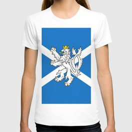Blue and White Scottish Flag with White Lion T-shirt