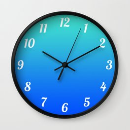 Bright Turquoise Blue Lagoon Ombre Wall Clock