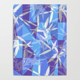 Bamboo in Blue Geometric Pattern Poster