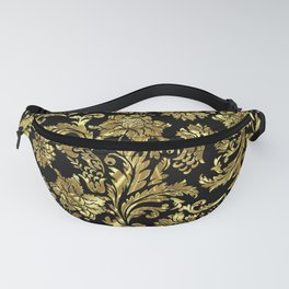 Black & Shiny Gold Vintage Floral Damasks Fanny Pack