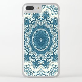 Creamy and blue mandala pattern#4 Clear iPhone Case