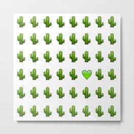 Cacti Emoji Love Metal Print