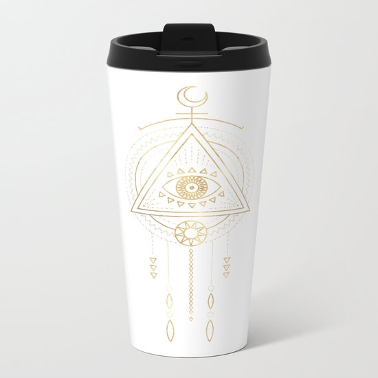 Mandala Golden Eye Geometric Tribal Metal Travel Mug