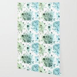 Simply Succulent Garden in Turquoise Green Blue Gradient Wallpaper