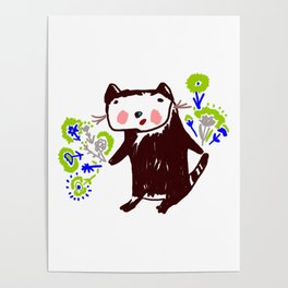 A little otter with flowers Poster