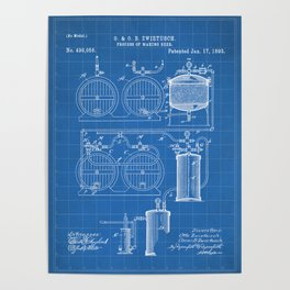Brewery Patent - Beer Art - Blueprint Poster