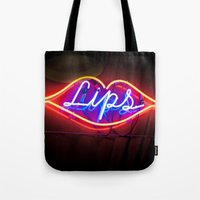 lips Tote Bags featuring Lips by Alev Takil