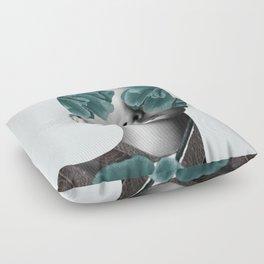 Floral Portrait (woman) Floor Pillow