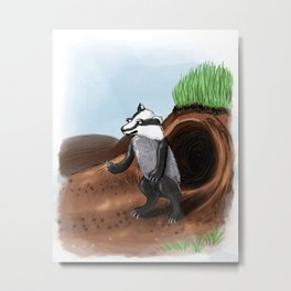 Unhappy badger Metal Print