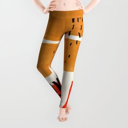 Mid Century Modern Abstract Minimalist Retro Vintage Style Fun Playful Ochre Yellow Ochre Orange Sha Leggings