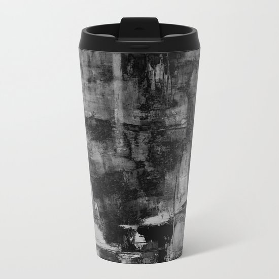 Crackled Gray - Black, white and gray, grey textured abstract Metal Travel Mug