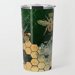 French chic, victorian,bee,floral,gold foil, belle epoque,art nouveau, green foil, elegant chic coll Travel Mug