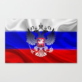 Flag of Russia with the coat of arms laid over it Canvas Print