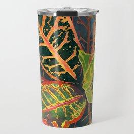 Coral Croton Tropical Plant Leaves   Modern Garden Art Print Travel Mug