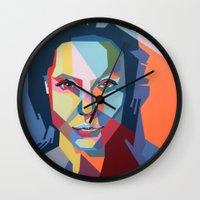 angelina jolie Wall Clocks featuring Angelina Jolie by iankingart