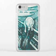 The Scream's Haze (light blue) Clear iPhone Case