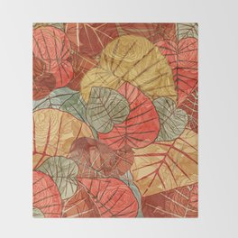 Leaves in Rosy Background 4 Throw Blanket