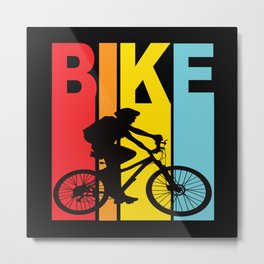 Mountain Bike Bicycle Mountain Biker Mtb Mountains Metal Print