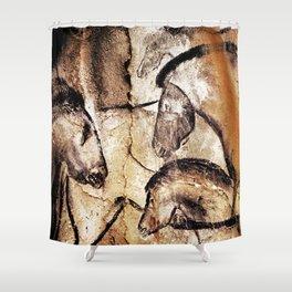 Facing Horses // Chauvet Cave Art Shower Curtain