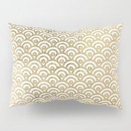 Elegant chic faux gold white japanese wave scallop pattern Pillow Sham