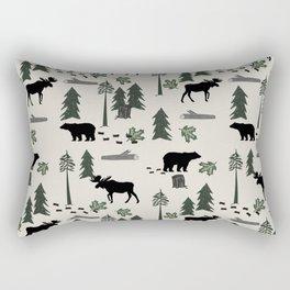 Camping woodland forest nature moose bear pattern nursery gifts Rectangular Pillow