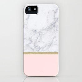 Marble Gold Blush Pink Pattern iPhone Case
