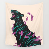tiger Wall Tapestries featuring Black tiger by Roland Banrevi