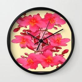 PINK FLOWER BLOSSOMS YELLOW SPRING ART Wall Clock