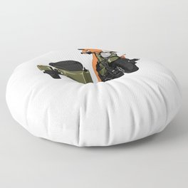 The first dog in space Laika on motorbike Floor Pillow
