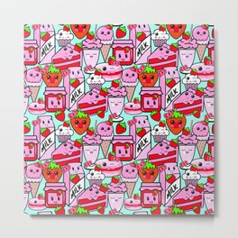 Kawaii Strawberries Metal Print