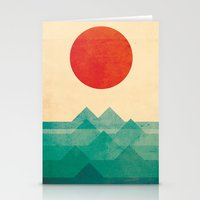 red panda Stationery Cards featuring The ocean, the sea, the wave by Picomodi
