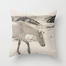 Wild Horses 3 - Black and White Throw Pillow