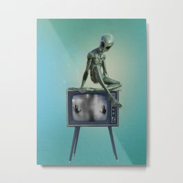Alien on TV Metal Print