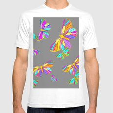 Rainbow Colored Butterflies Charcoal Grey Art Design Mens Fitted Tee MEDIUM White