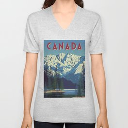 Canada Vintage Travel Poster Commercial Air Travel Poster Unisex V-Neck