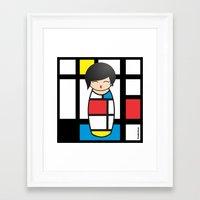 mondrian Framed Art Prints featuring Kokeshi Mondrian by Pendientera