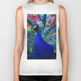 CHOCOLATE & BLUE PEACOCK FANTASY ART ABSTRACT Biker Tank