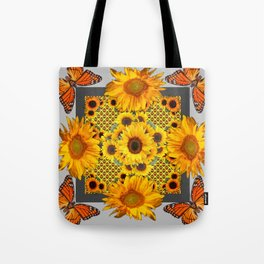 WESTERN SUNFLOWERS & MONARCH BUTTERFLIES FLORAL Tote Bag