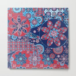 Dhalia Red and Blue Metal Print
