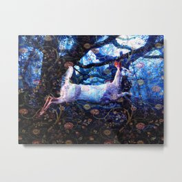 Leaping Deer in the Forest Metal Print